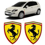 Par Emblema Ferrari Automotivo Lateral Carro Borda Cromada