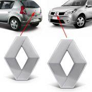 Par Emblema Logo Renault Sandero 2011 2012 2013 2014 Cromado