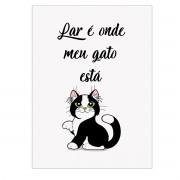 Placa Quadro Decorativo Gato Para Parede ou Portas 20x28cm