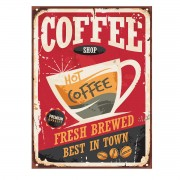 Placa Quadro Decorativo Retro Rústico Café Coffee 20x28cm