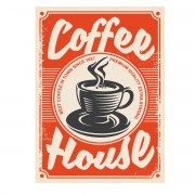 Placa Quadro Decorativo Retro Café Coffee House 20x28cm