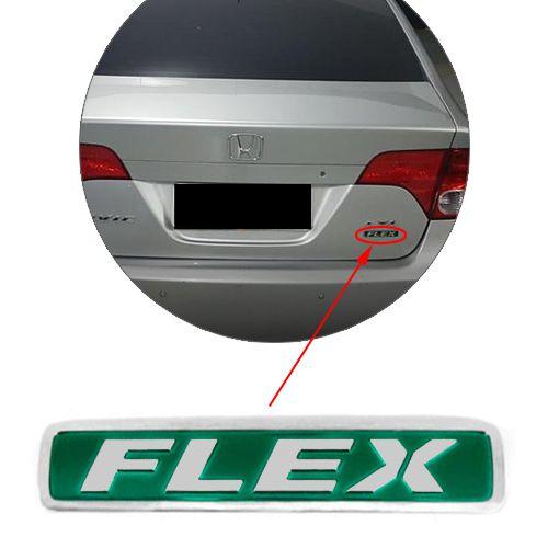 Emblema Flex Civic 2011 2012 2013 Traseiro Cromado