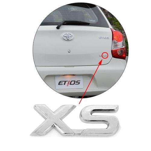 Emblema Letreiro Xs Etios 2014 2015 2016 2017 Cromado