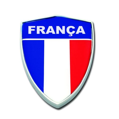 Emblema Escudo Cromado França Lateral Todos Os Carros