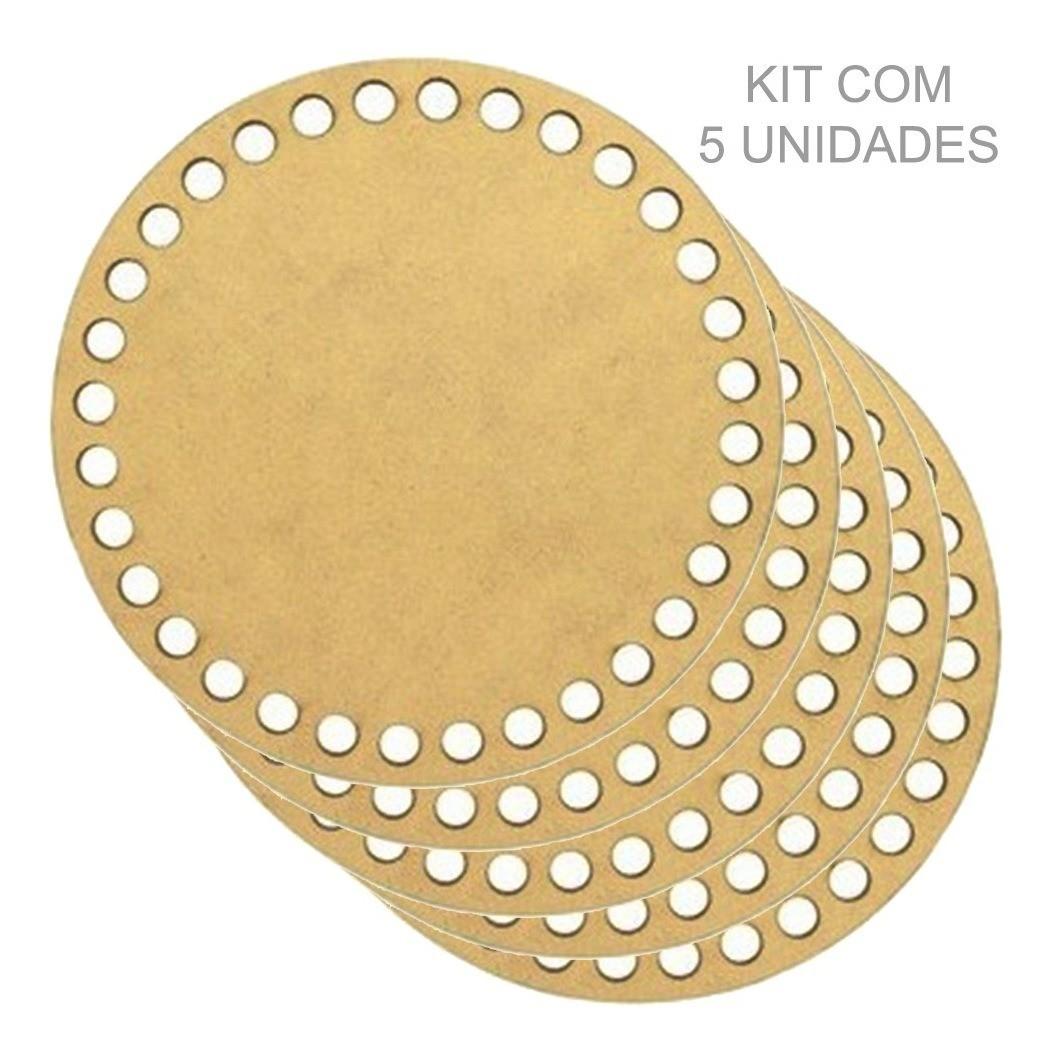 Kit 5 Placas Base Redonda De Cesto Fio Croche Em Mdf 8cm