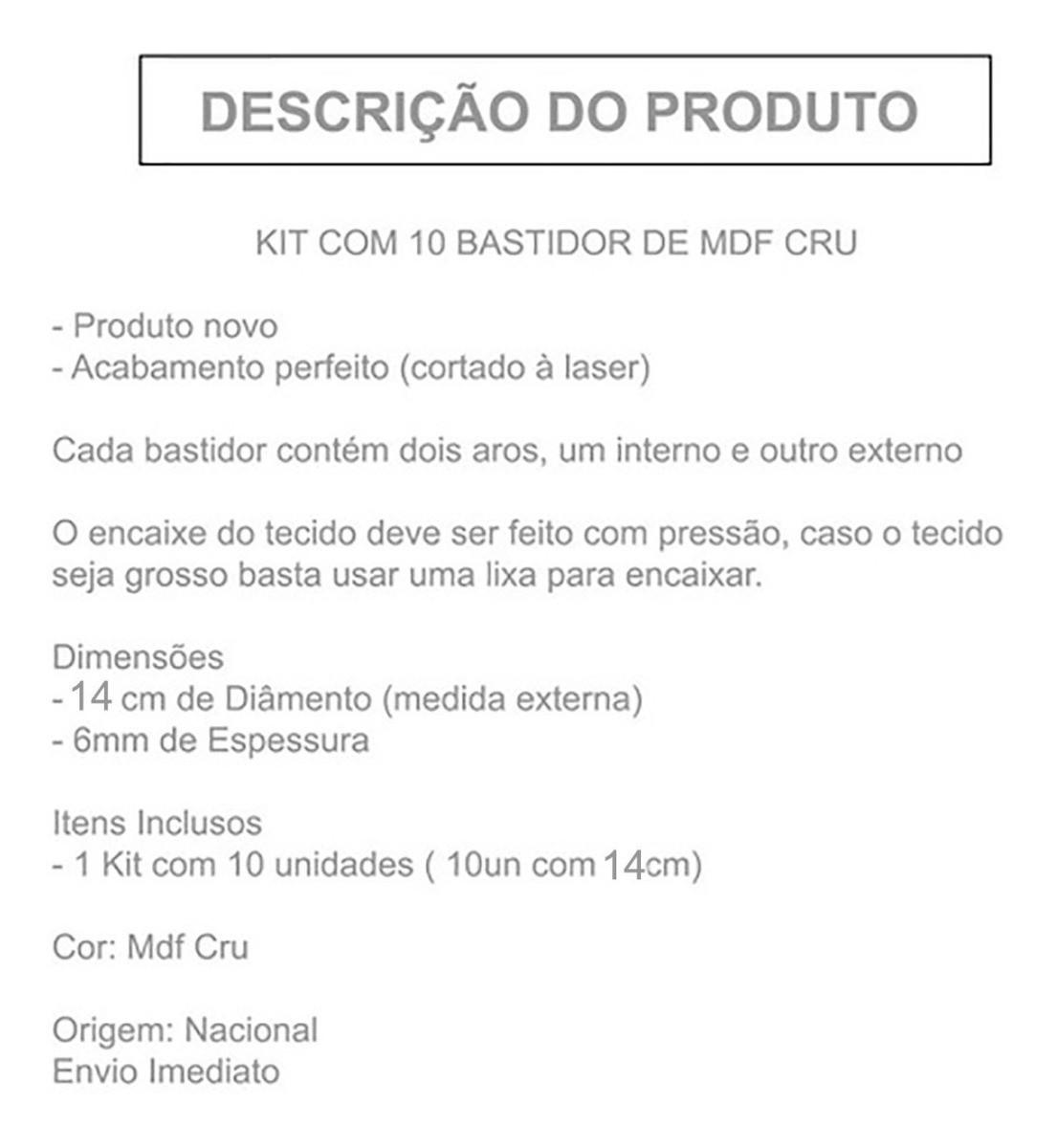 Kit Com 10 Bastidor De Mdf Crú Moldura Bordado Crochê 14 Cm