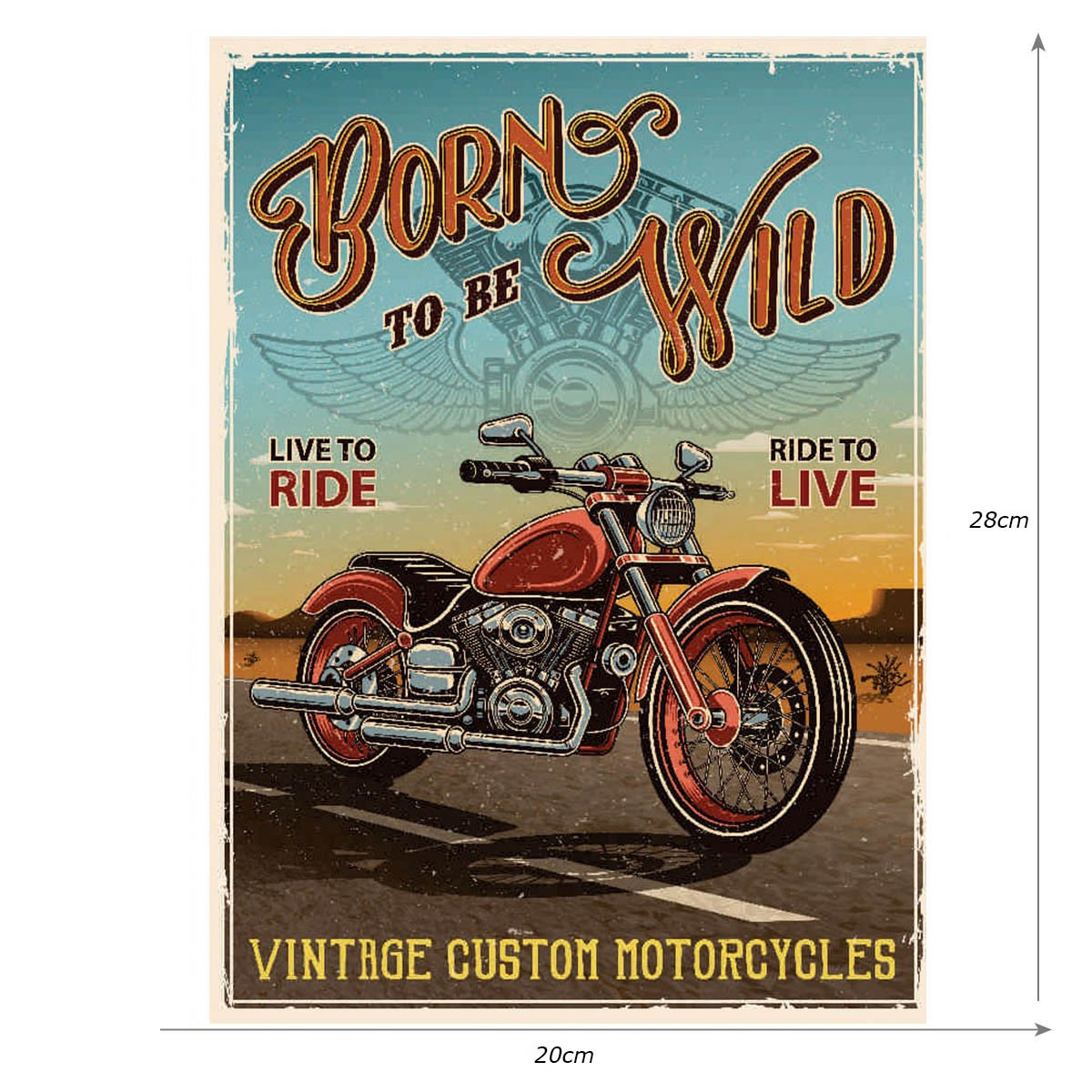 Placa Quadro Decorativo Vintage Custom Motorcycles - 20x28cm