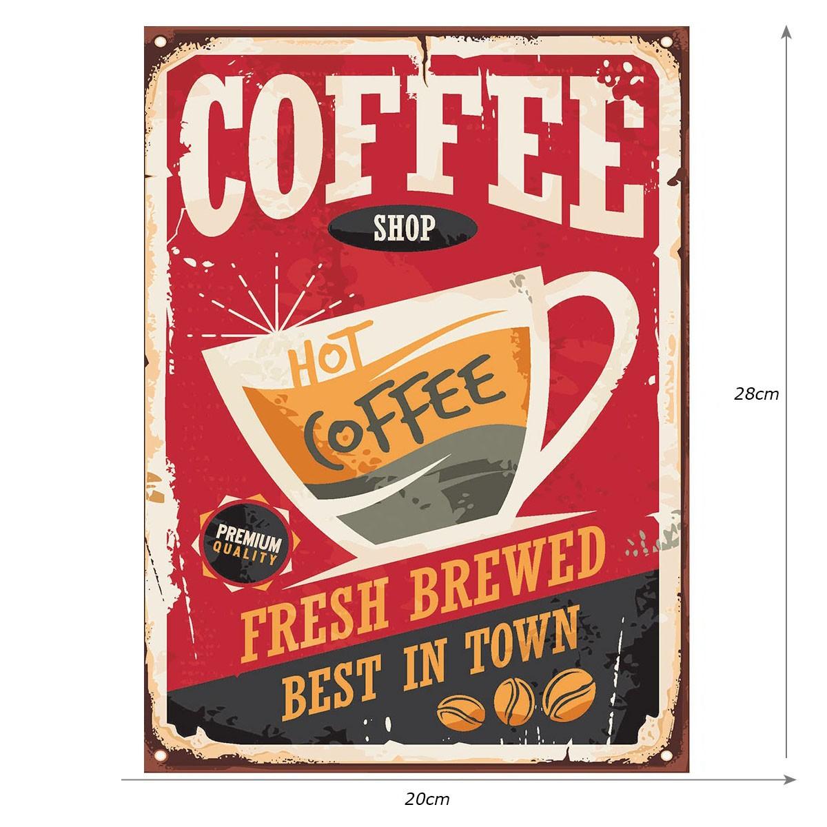 Placa Quadro Decorativo Retro Rústico Café Coffee 20x28cm