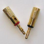 Plug conector Banana simples HJH banhado a ouro par vermelho e preto