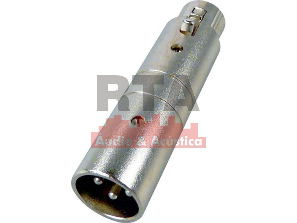 Adaptador XLR (canon) fêmea X XLR macho (inversor de fase)