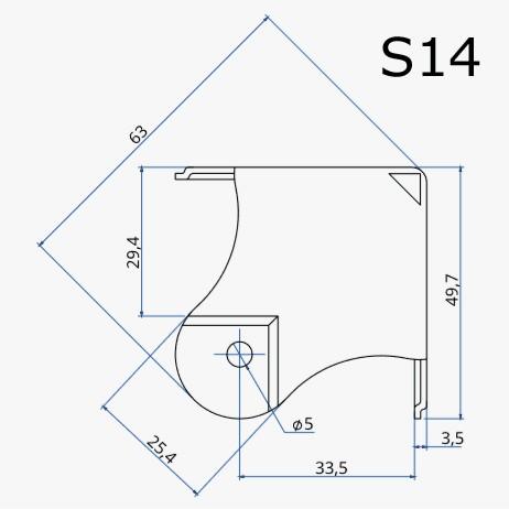Canto quadrado Santo Angelo zincado para case