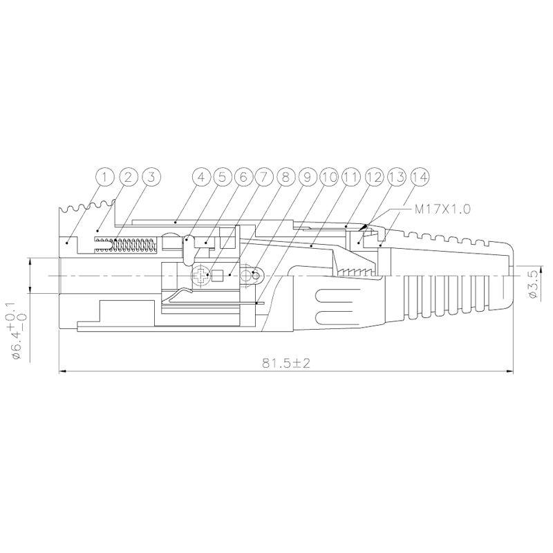 Jack P10 Smart Pro Line fêmea estéreo para cabo