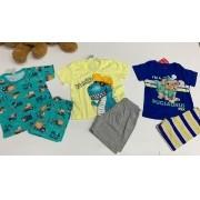 pijamas infantil 3 unidade com estampas sortidas e marca também .
