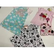 pijamas infantil 3 unidades com marca e estampas sortidas
