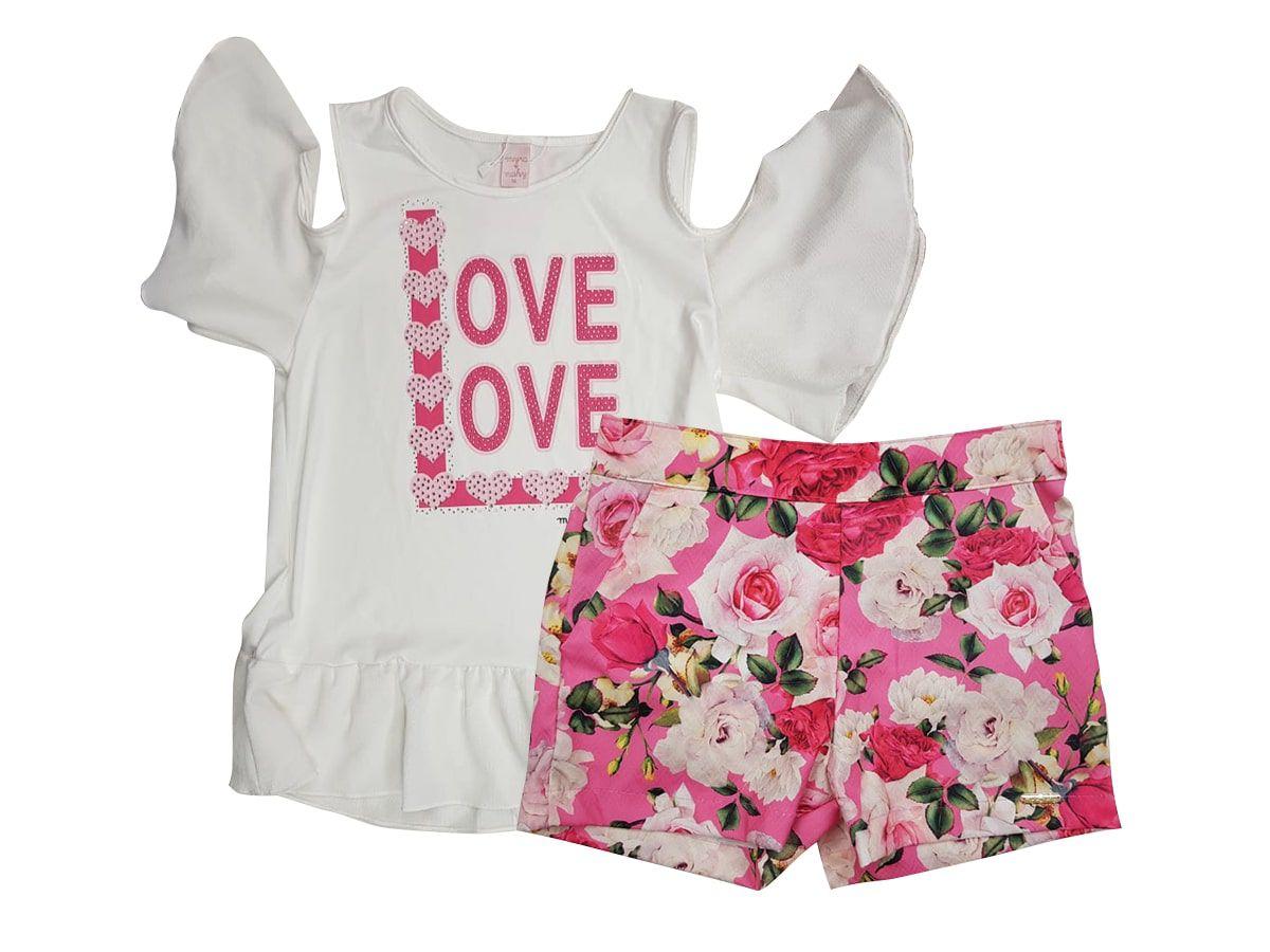 Conjunto Infantil Feminino Blusinha e Short Floral Love Myra Mahy