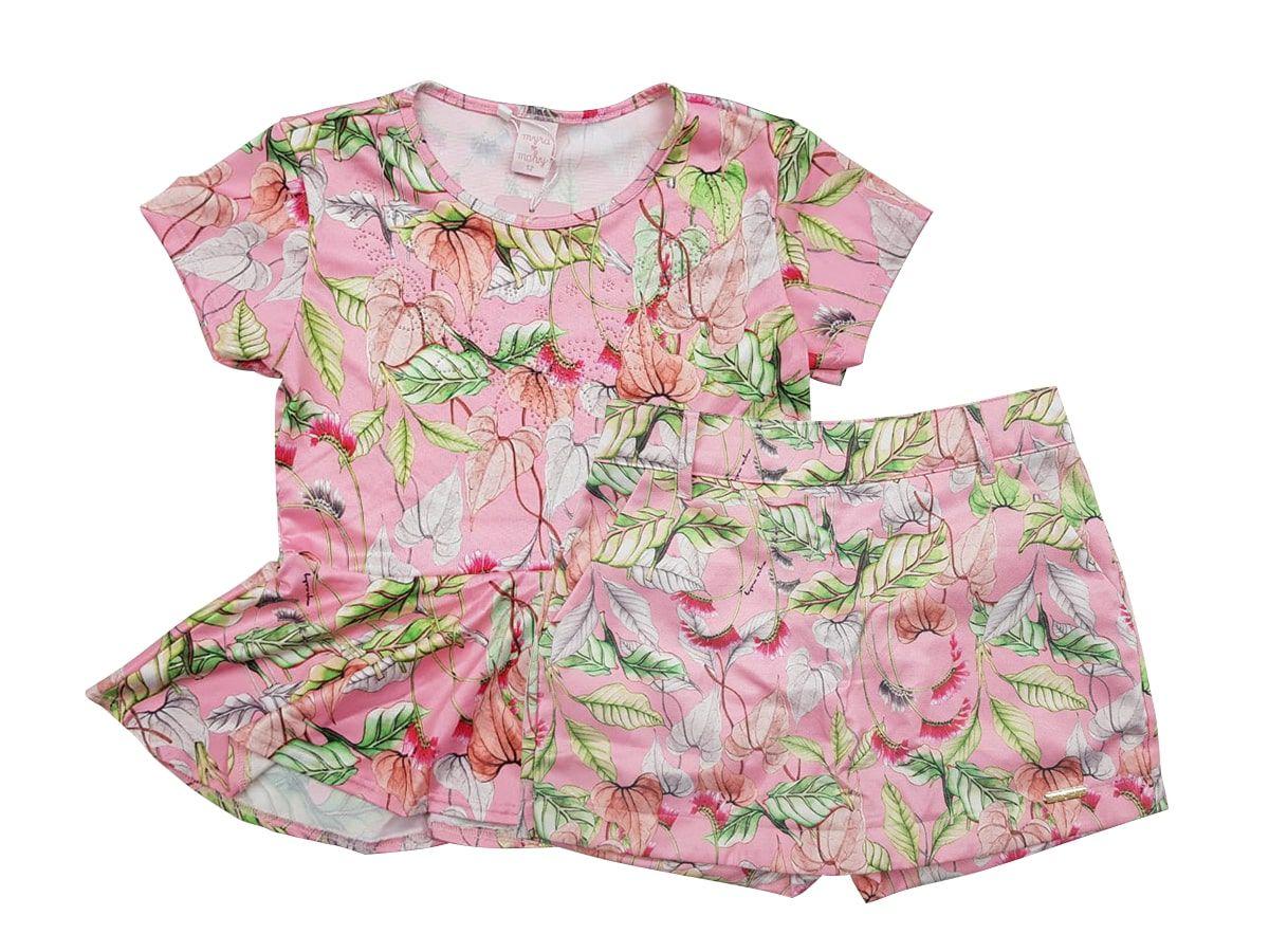 Conjunto Infantil Feminino Blusinha e Short-saia Myra Mahy