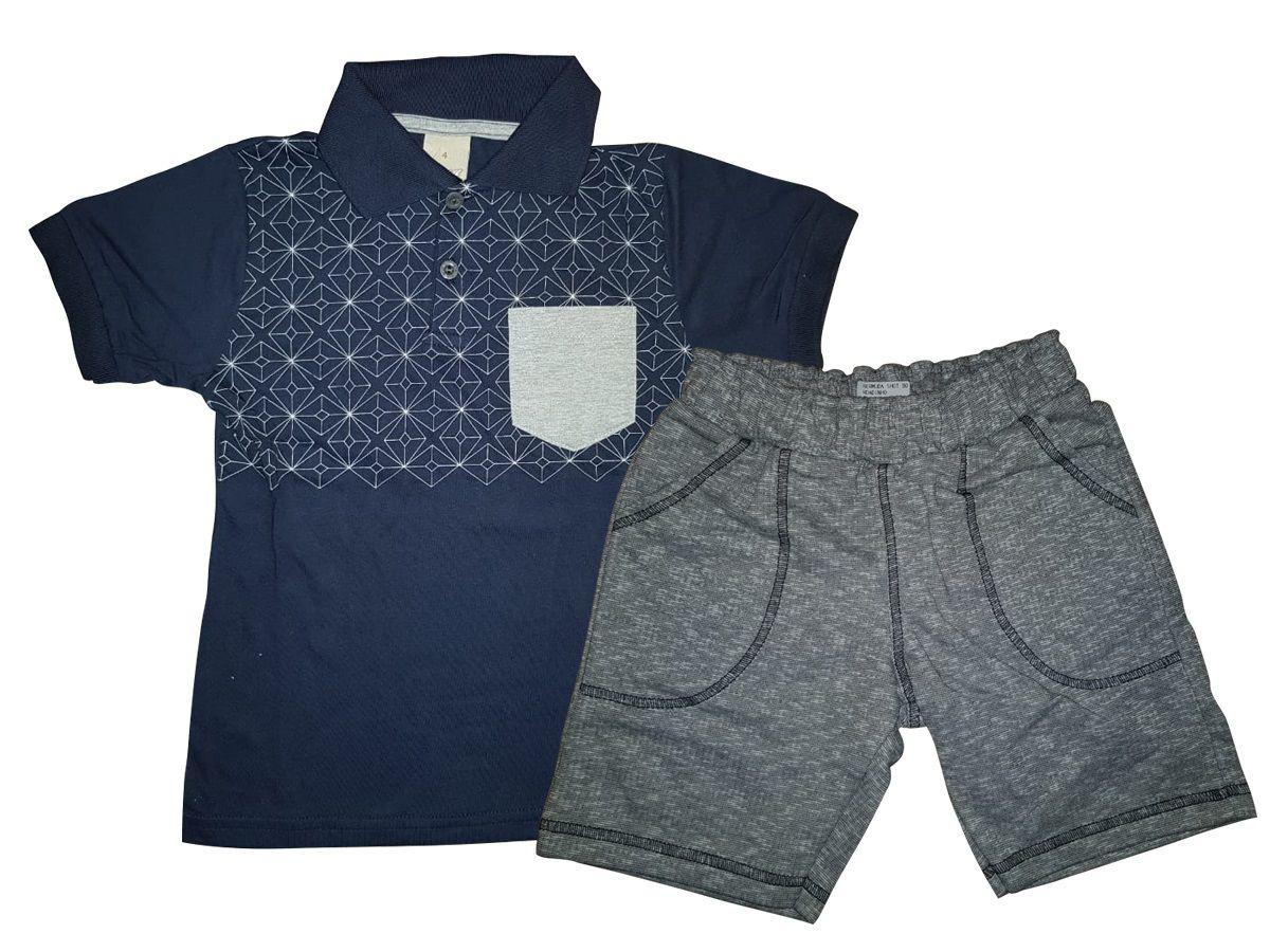 Conjunto Infantil Masculino Camiseta Polo com Bermuda Moletinho Angerô