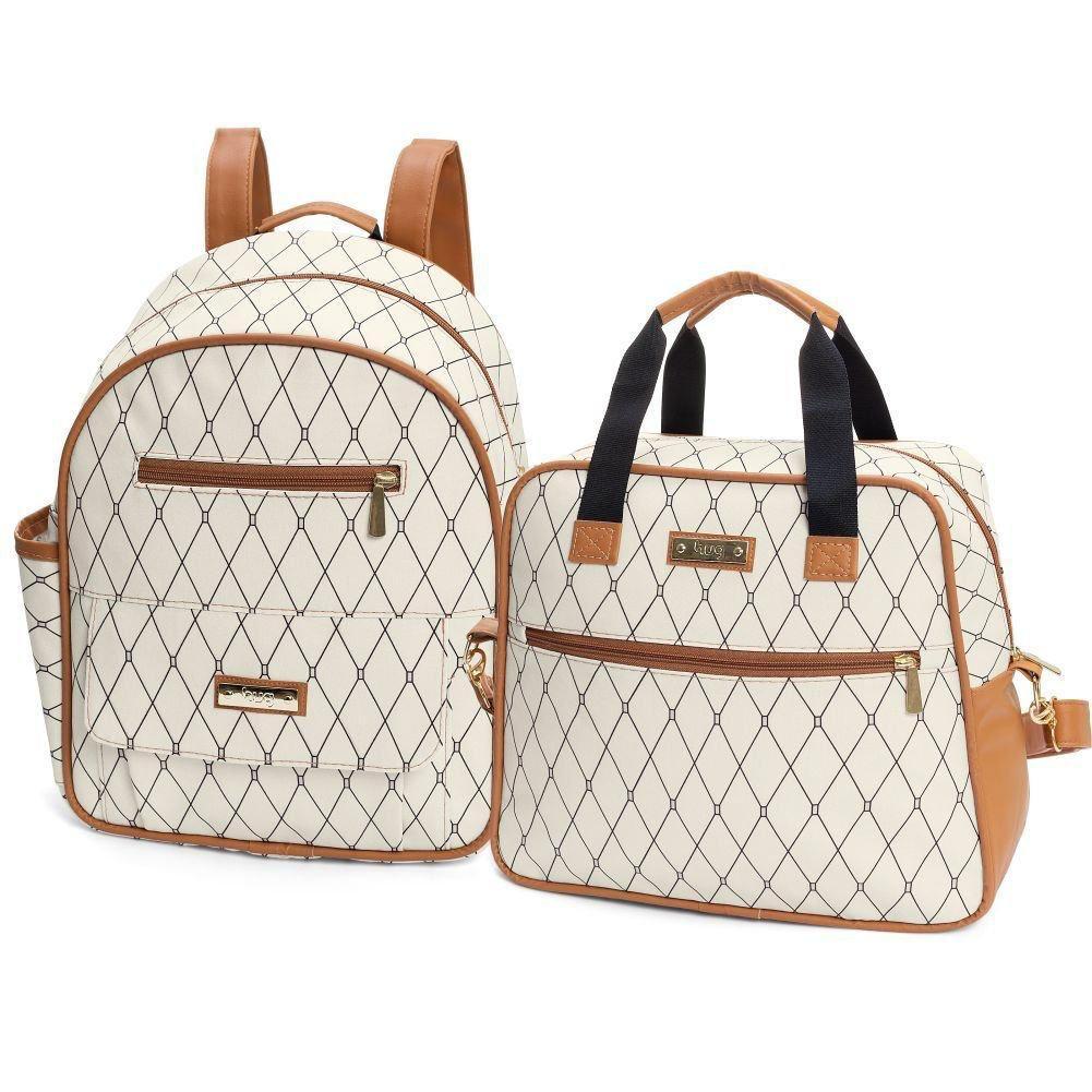 kit mochila maternidade com bolsa M nancy bege Hug baby