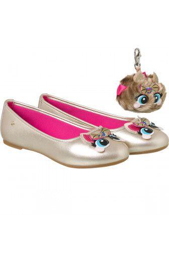 sapatilha infantil pampili super fofura princess dot dourado