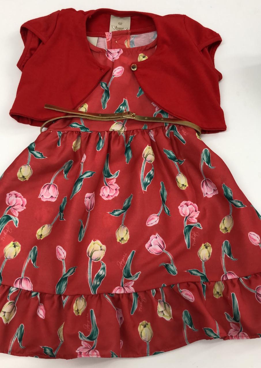 vestido angero estampado com estampa floral e cinto dourado
