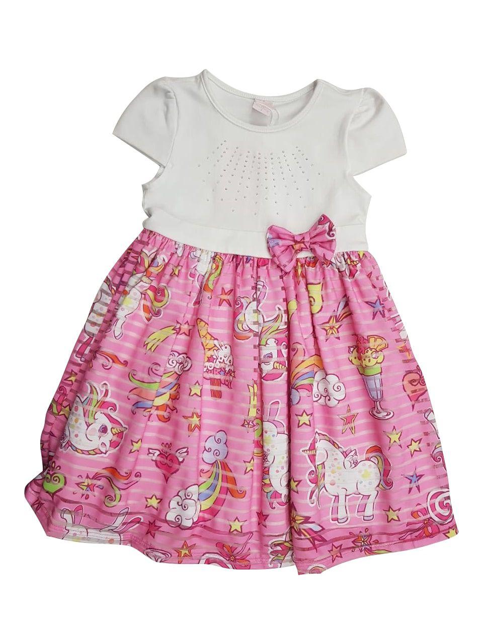 Vestido Infantil de Verão com Estampa de Unicórnio Myra Mahy