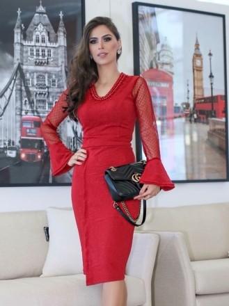 Moda Evangelica - Vestido Vermelho Manga Flare