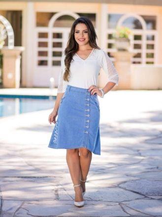Saia Jeans com Desfiado Lateral - Moda Evangelica
