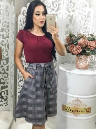 Saia Rodada Xadrez Cinza - Moda Evangelica