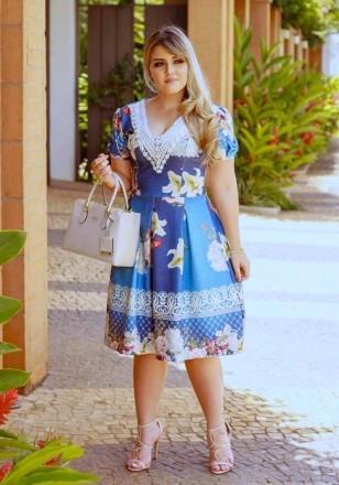 Moda Evangelica - Vestido Azul Jardim dos Lírios