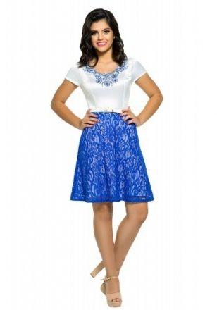 Moda Evangelica - Vestido de Renda Zunna Ribeiro Azul