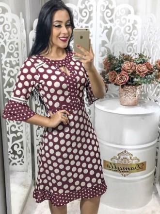 Moda Evangelica - Vestido em Crepe Poá