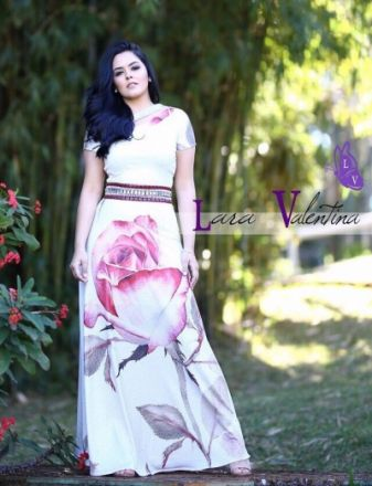 Vestido Encanto das Flores - Lara Valentina - Moda Evangelica