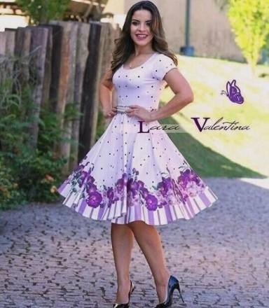 Vestido Encanto das Flores Violetas - Moda Evangelica