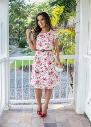 Vestido Estampado Floral com Cinto - Moda Evangelica