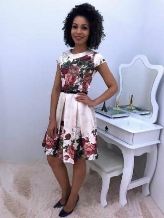 Vestido Rodado Acetinado Floral - Moda Evangelica