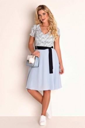 Vestido Fascinius Print Blue - Moda Evangelica
