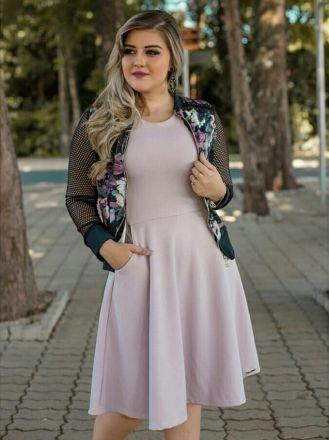 Vestido Lilás com Casaco - Moda Evangelica