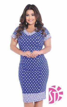 Vestido Plus Size estampa em Poá com Pérolas - Moda Evangelica
