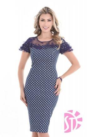 663afff6c6 vestido moda evangelica plus size estampado v10676Moda e Vestidos ...