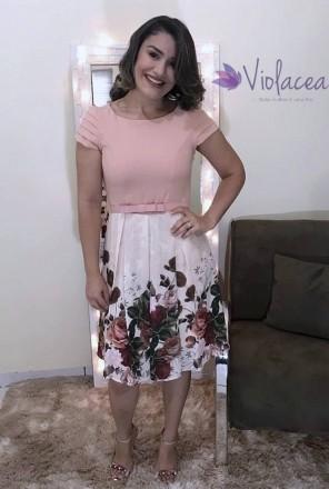 Vestido Princesa Rodado com Estampa - Moda Evangelica