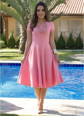 Vestido Princesa Rosa - Moda Evangelica
