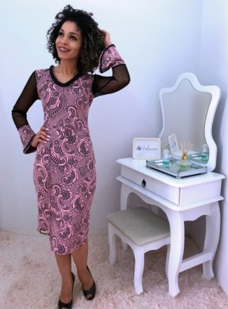 Moda Evangelica - Vestido Rosa Manga Flare