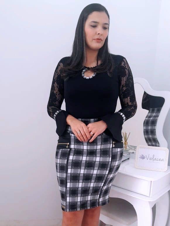 Camisa Body Social com Rendas - Moda Evangelica
