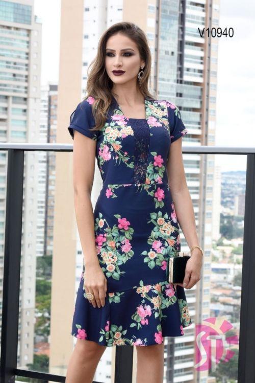 579b0c09b Moda Evangelica - Vestido Social Moda Evangelica Floral