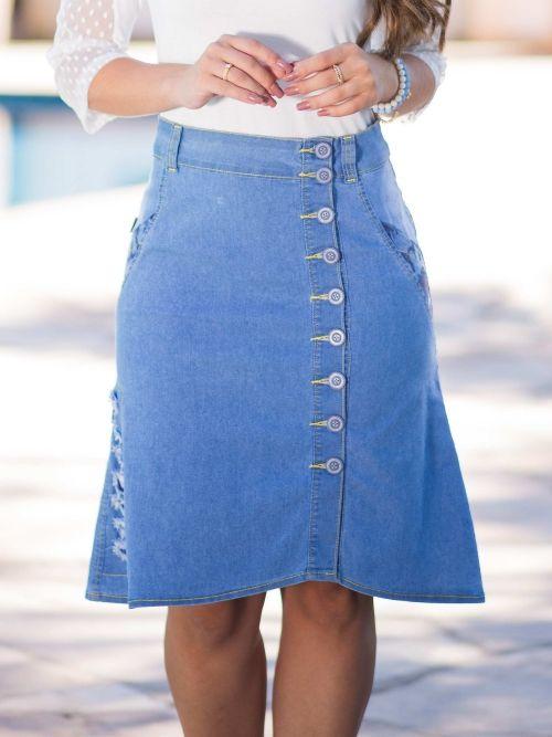 Saia Jeans com Desfiado Lateral