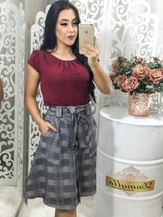 ab3c5b1f37 Saia Rodada Xadrez Cinza - Moda Evangelica - Moda e Vestidos ...