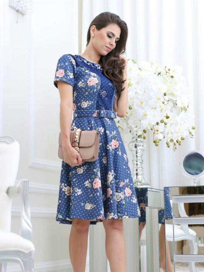 Vestido Azul com Cinto Moda Evangélica