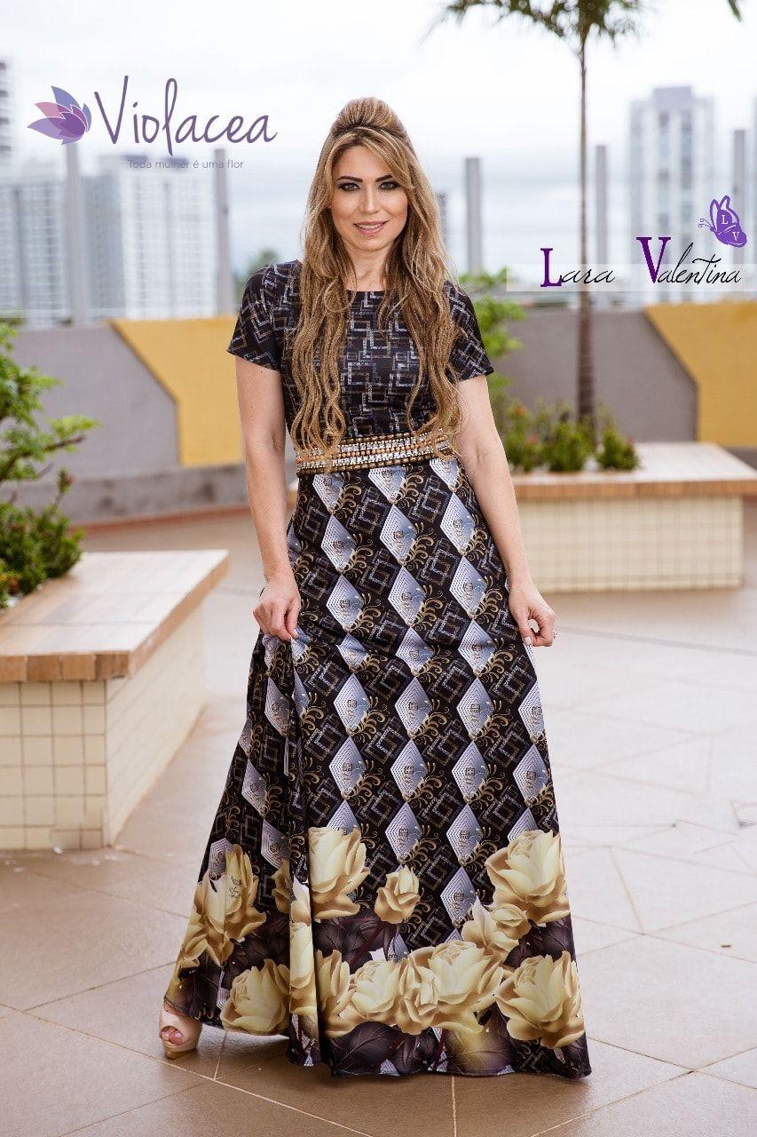 Vestido Dourado Lara Valentina Coleção Elaine de Jesus Moda Evangelica