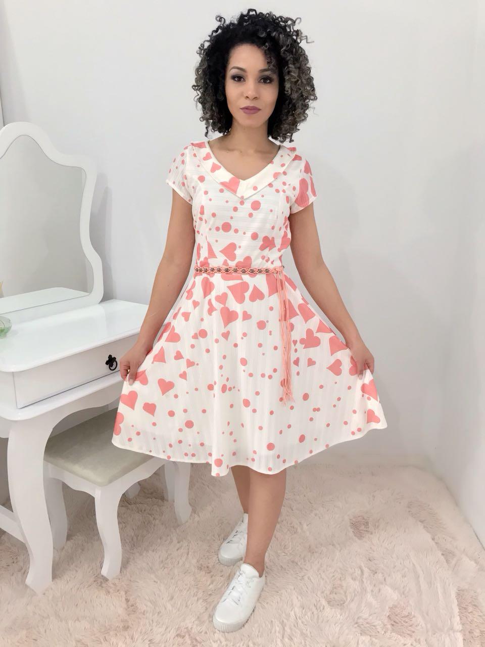 Vestido Fascinius Corações - Moda Evangelica