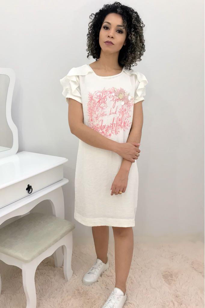 Vestido Fascinius Linho com Babados - Moda Evangelica